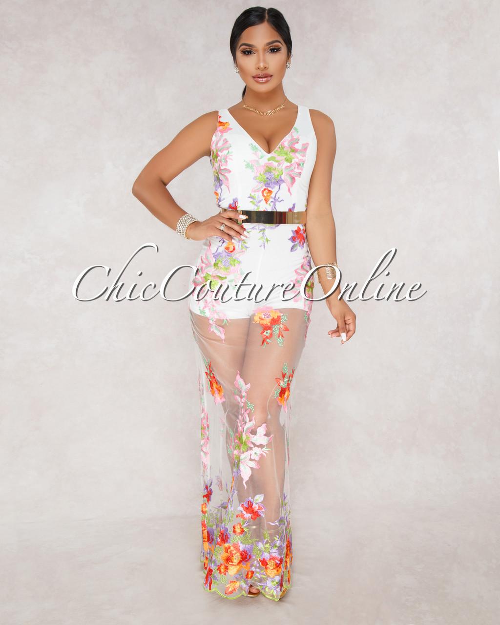 4ef655fc145 Venetia White Multi Color Embroidery Floral Romper Dress. Price   65.00.  Image 1