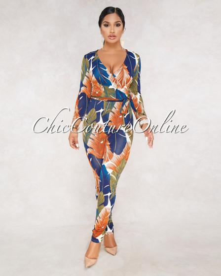 Bria Multi Color Leaf Print Wrap Front Jumpsuit