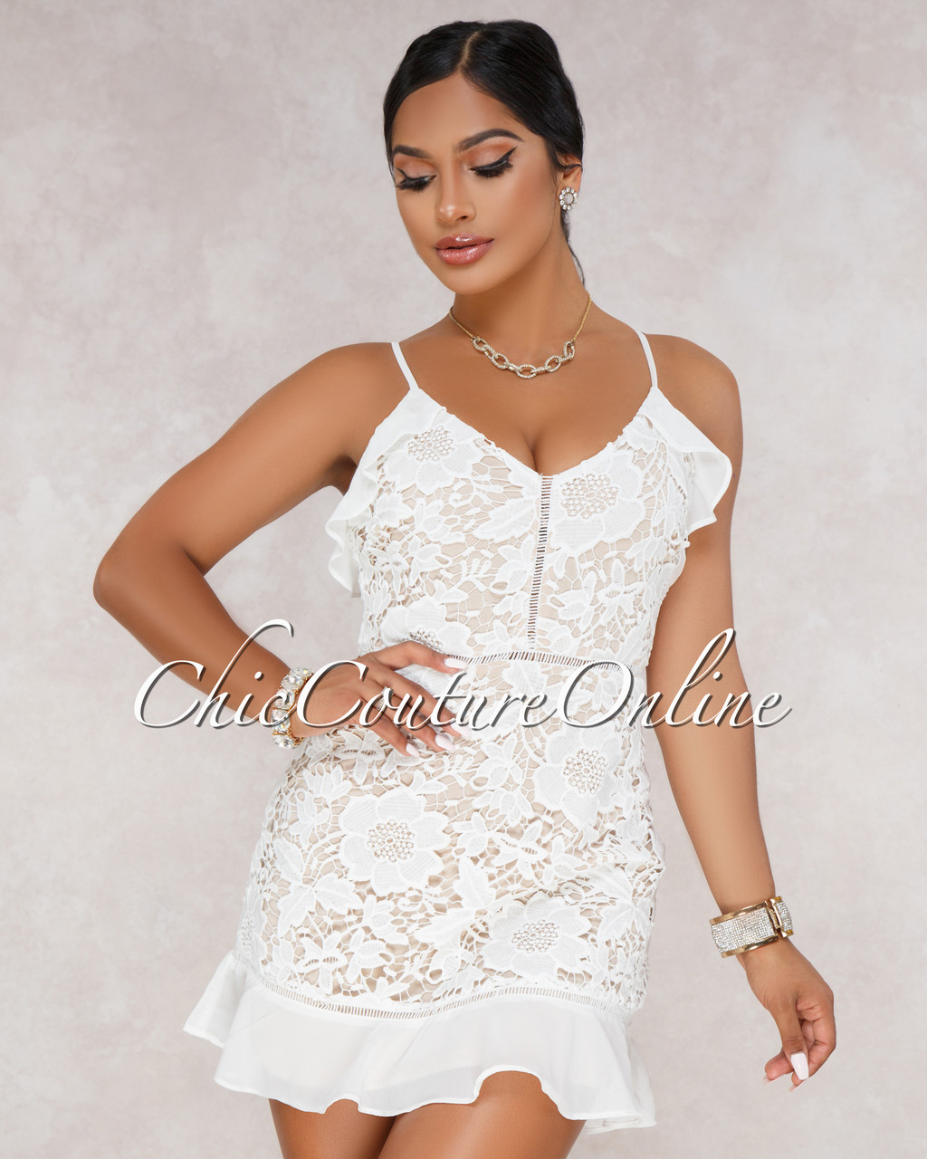 Syria White Nude Crochet Mini Dress