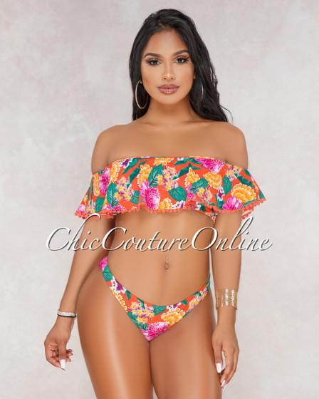 Brook Orange Pink Floral Print Ruffle Bikini Set