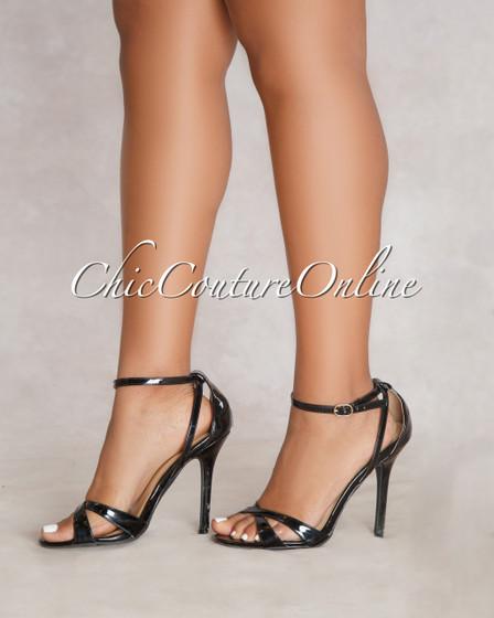 Adele Black Ankle Strap High Heels