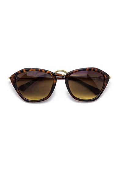 Catty Brown Tortoise Gradient Lens Cateye Sunglasses