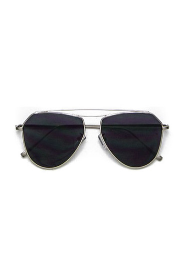 Retro Black Flat Lens Aviator Sunglasses