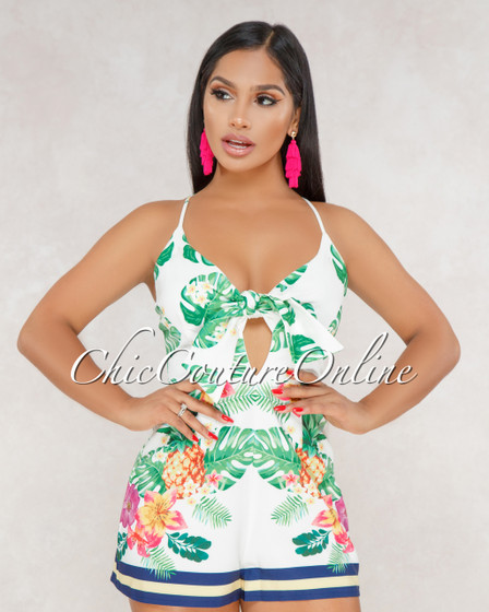 Willa Green Floral Print Ruffle Off The Shoulder Romper