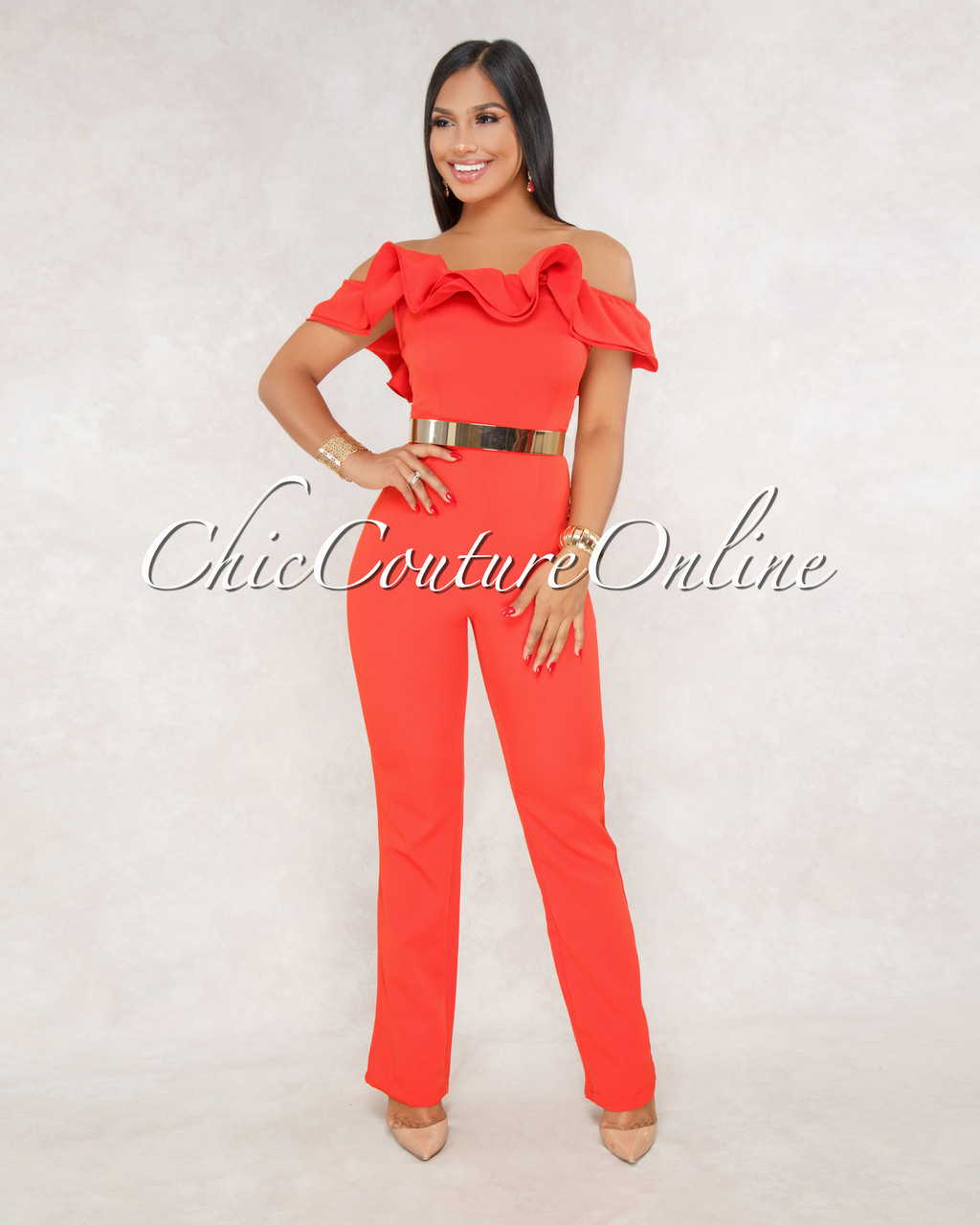 fb58f79e5160 Laina Red Ruffle Off The Shoulder Jumpsuit. Price   50.00. Image 1