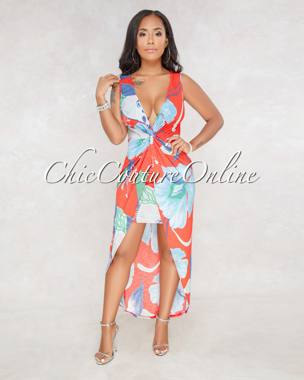 d6369cf9500 Quanna Red Multi-Color Print Plunging V-Neck Dress. Price   48.00. Image 1