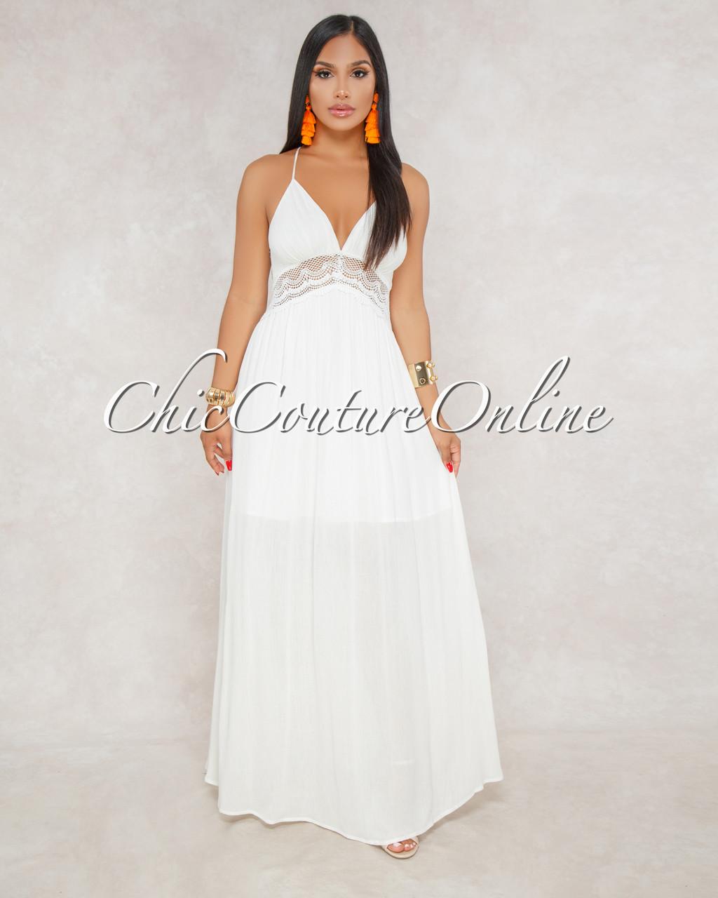 6c91190f300d4 Kelby Off White Crochet Halter Key-Hole Back Maxi Dress