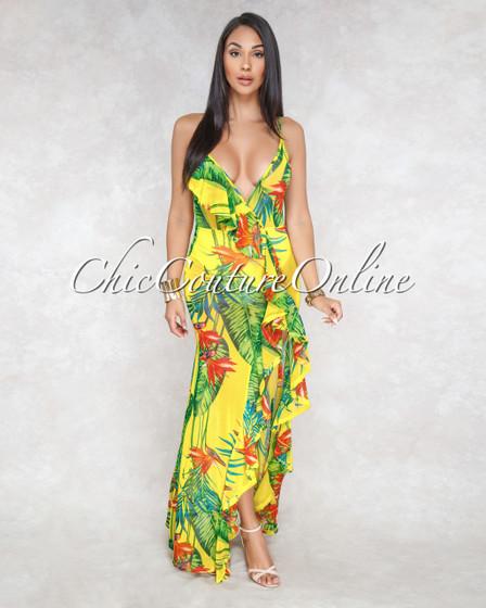 Lea Yellow Multi-Color Floral Print Mesh Bodysuit Maxi Dress
