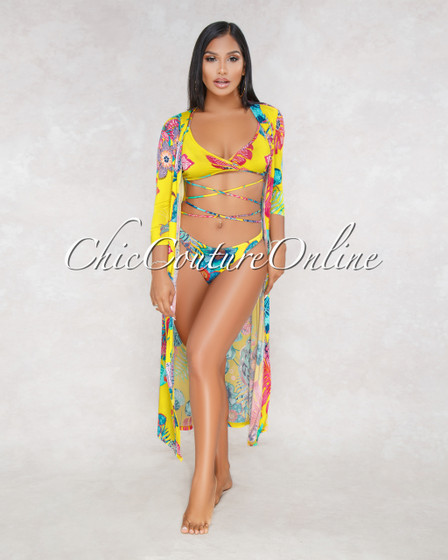 Lenny Yellow Floral Print Three Piece Set Swimsuit