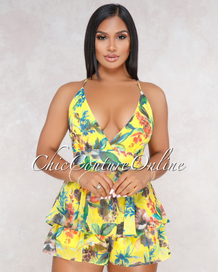 Gavana Yellow Multi Color Floral Ruffle Romper
