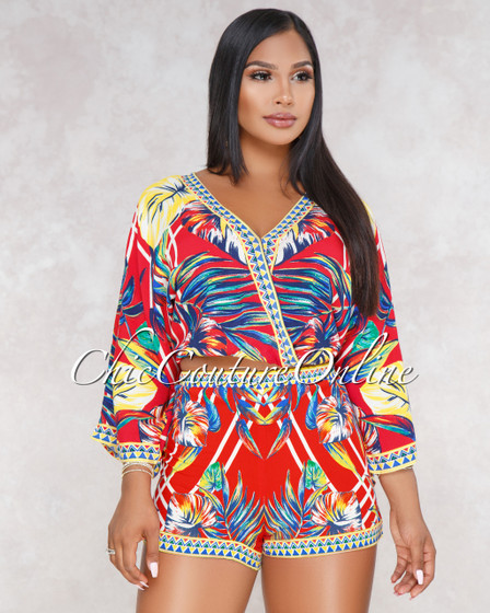 Maye Red Multi Color Leaf Print Two Piece Set
