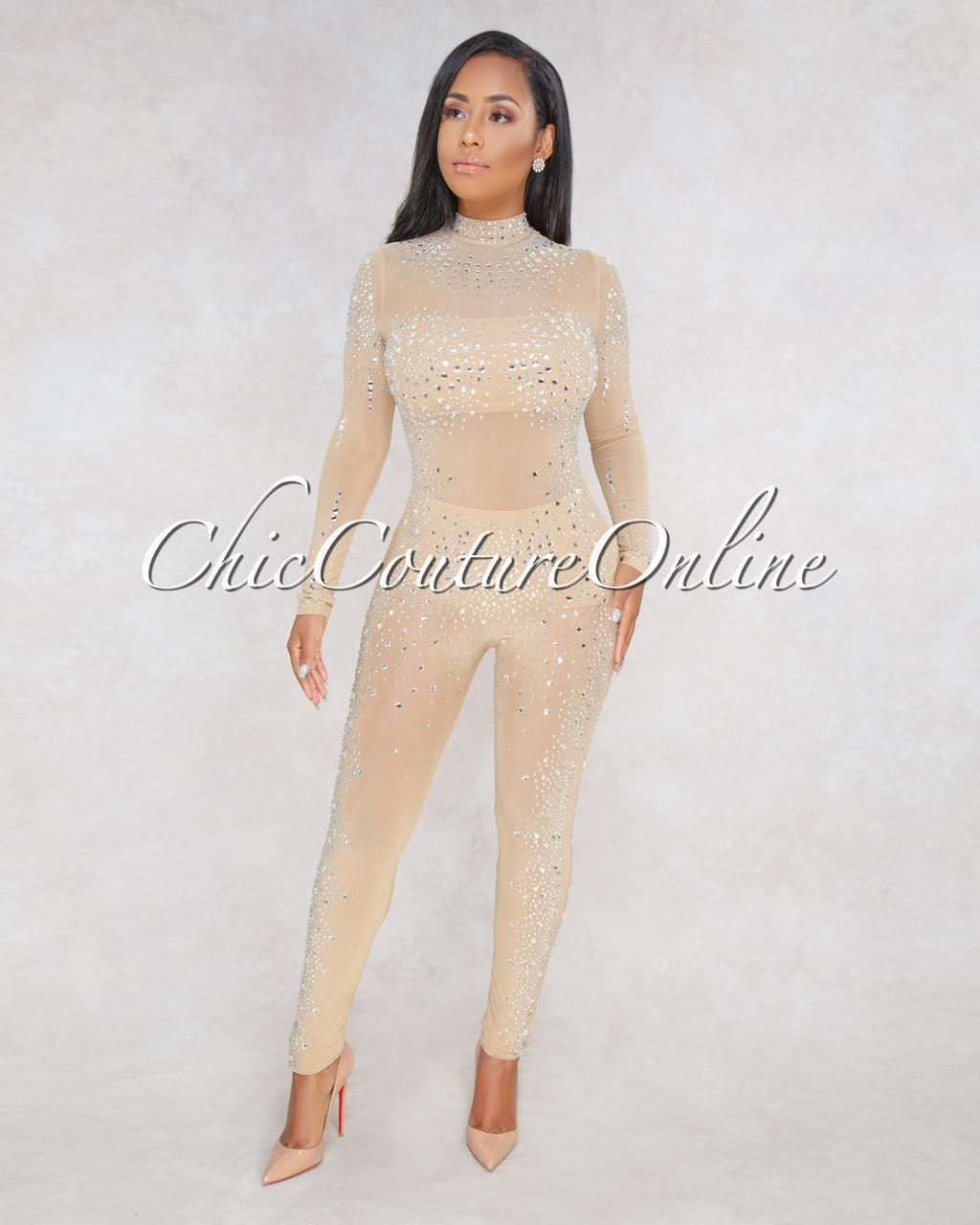 67c9b5b52a1 Chyna Nude Rhinestones Semi-Sheer Jumpsuit. Price   100.00. Image 1