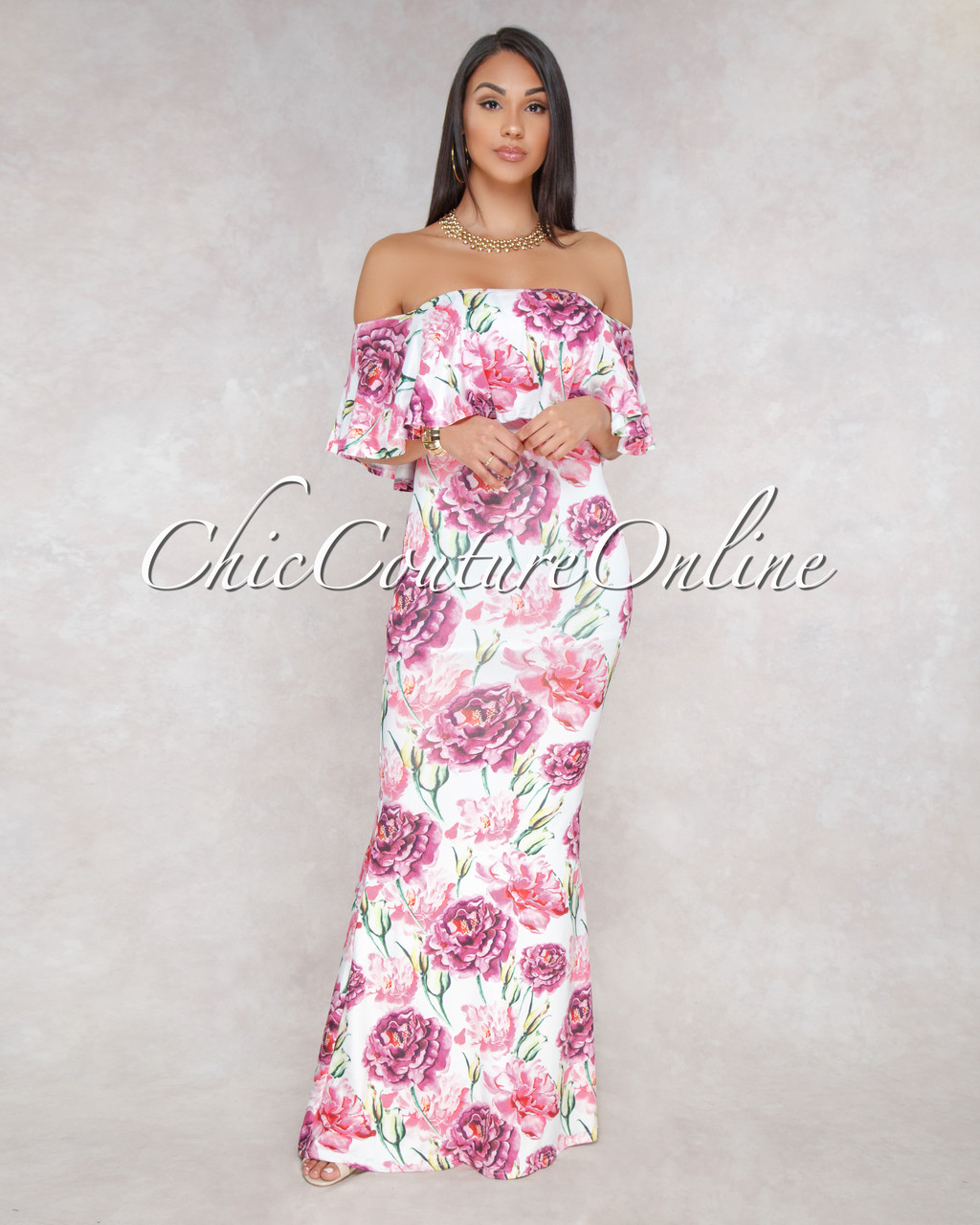 044e2bda1824 Kenyata Off White Pink Floral Print Off-The-Shoulder Maxi Dress