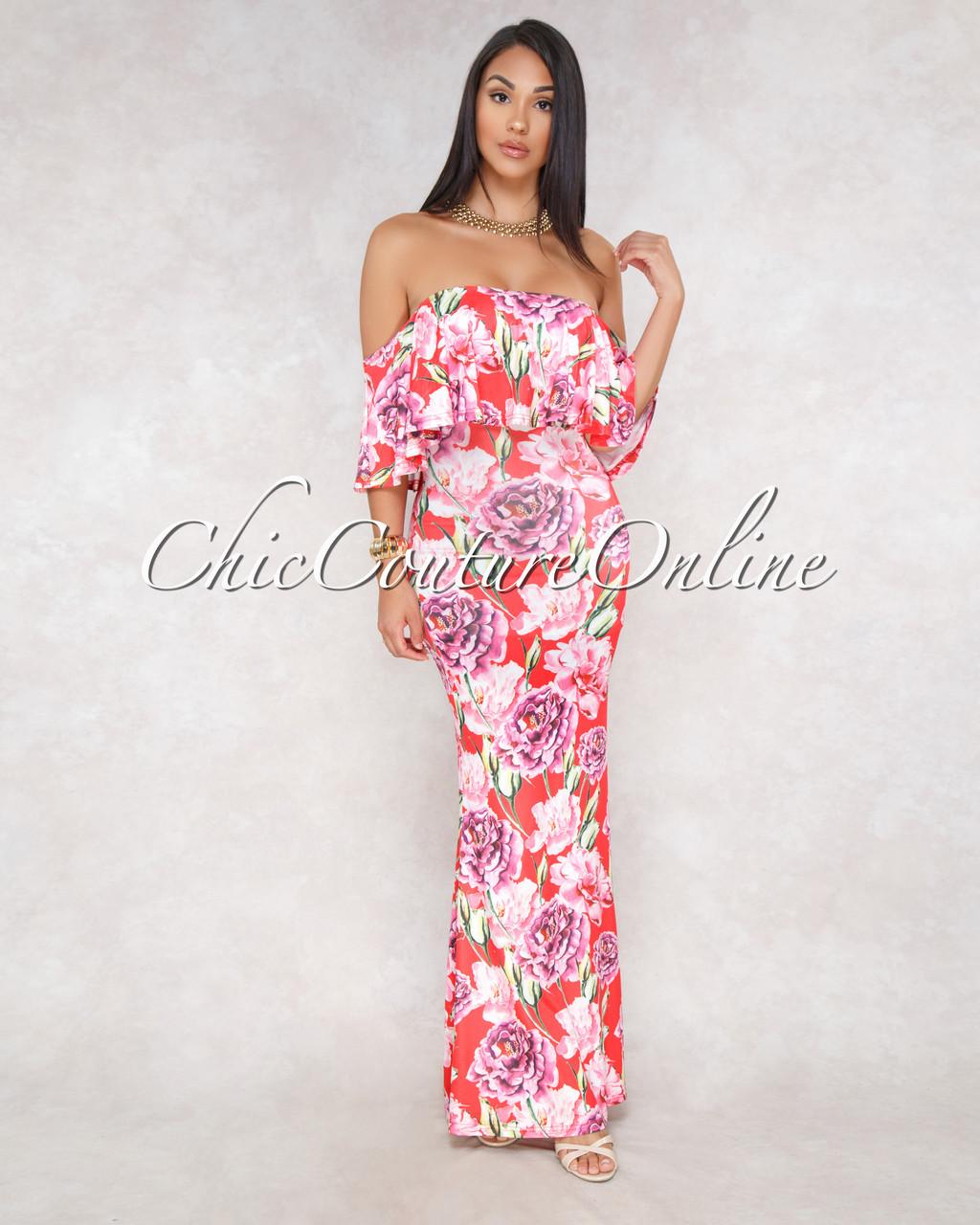 2e28df4293c8 ... Floral Print Off-The-Shoulder Maxi Dress. Price   60.00. Image 1