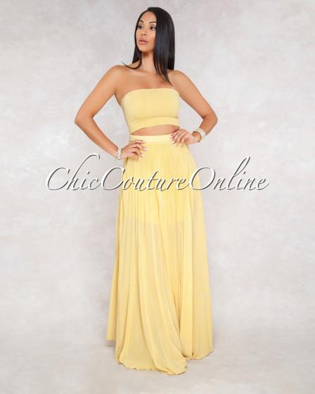 Rebie Mustard White Stripes Pleated Cut Out Maxi Dress