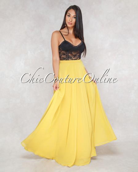 Kiante Mustard Luxe Maxi Skirt