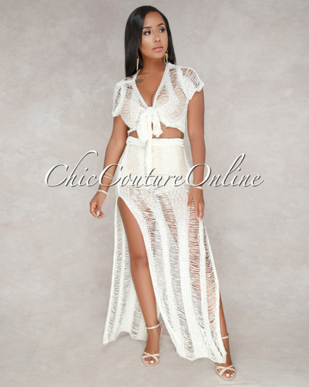 Laura Ivory Crochet See-Cover-Up Two Piece Set