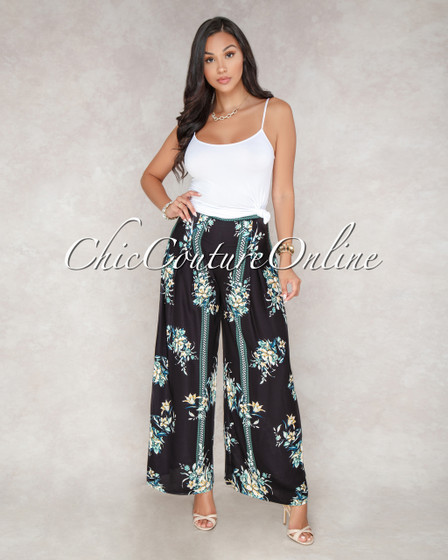 Laverne Black Ivory Floral Print  Pleated Wide Legs Pants