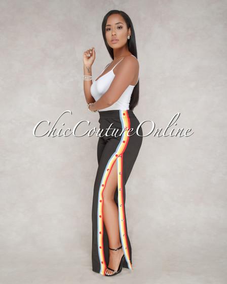 Tiana Black Multi Color Stripe Snap Side Pants