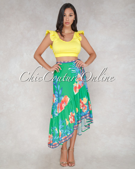 Sussette Green Multi Color Floral Print Wrap Maxi Skirt