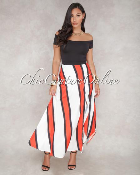 Dory Off White Black/Orange Stripes Silky Maxi Skirt