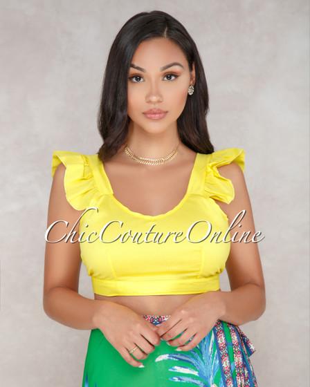 Ayslin Yellow Ruffle Sleeves Crop Top