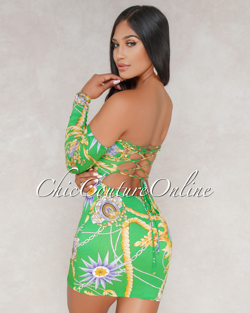 2a2df8b82bc5 Somaya Green Printed Off The Shoulder Dress. Your Price   35.00 (You save   13.00). Image 1