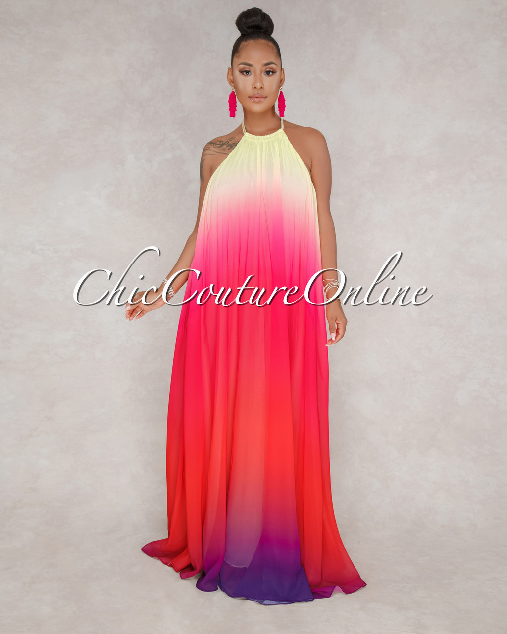 4c3b724d6fc1 Lose Control Pink Ombre Halter Maxi Dress