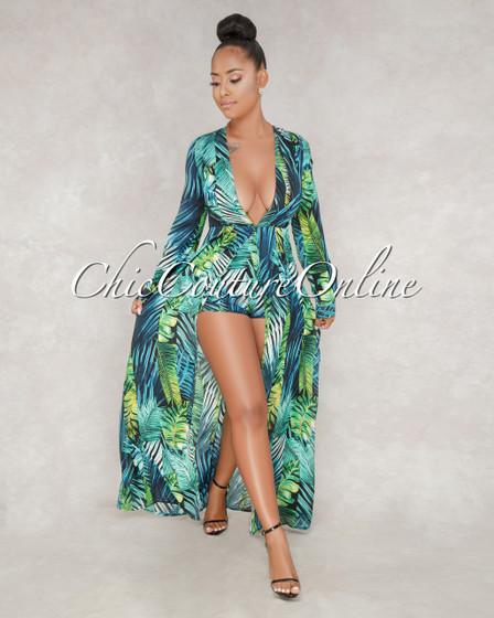 Regis Black Green Leaf Print Romper Maxi Dress