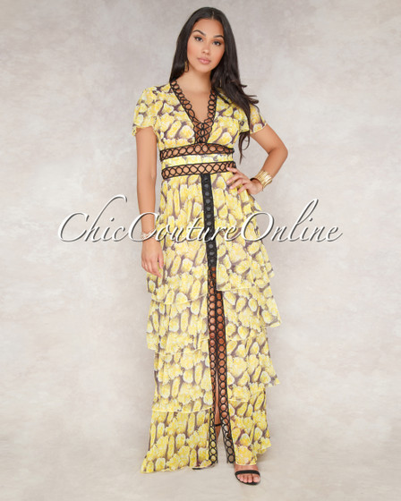 Sioban Yellow Floral Black Crochet Tier Maxi Dress