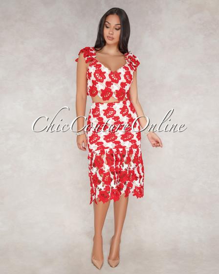 Sammie Red White Rose Crochet Two Piece Set