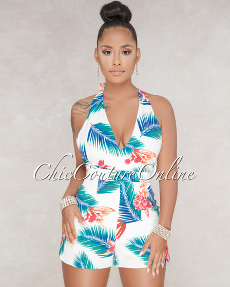 Chloe Off White Tropical Print Romper