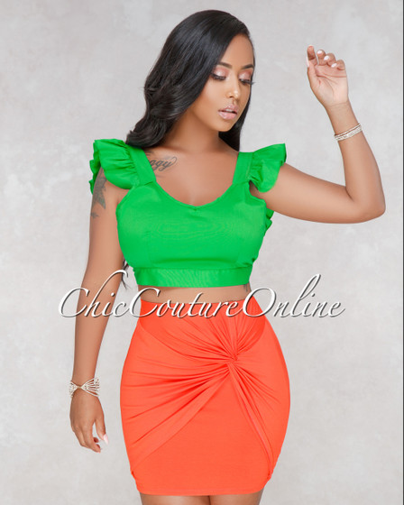 Claribel Orange Knot Front Mini Skirt
