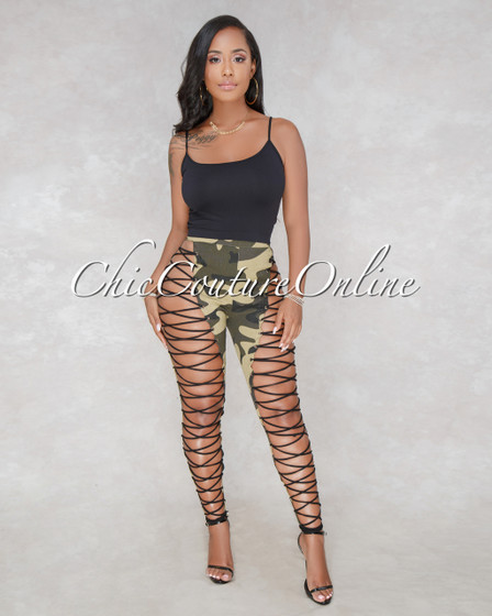 Jazzy Camo Print Lace Up Denim Jeans