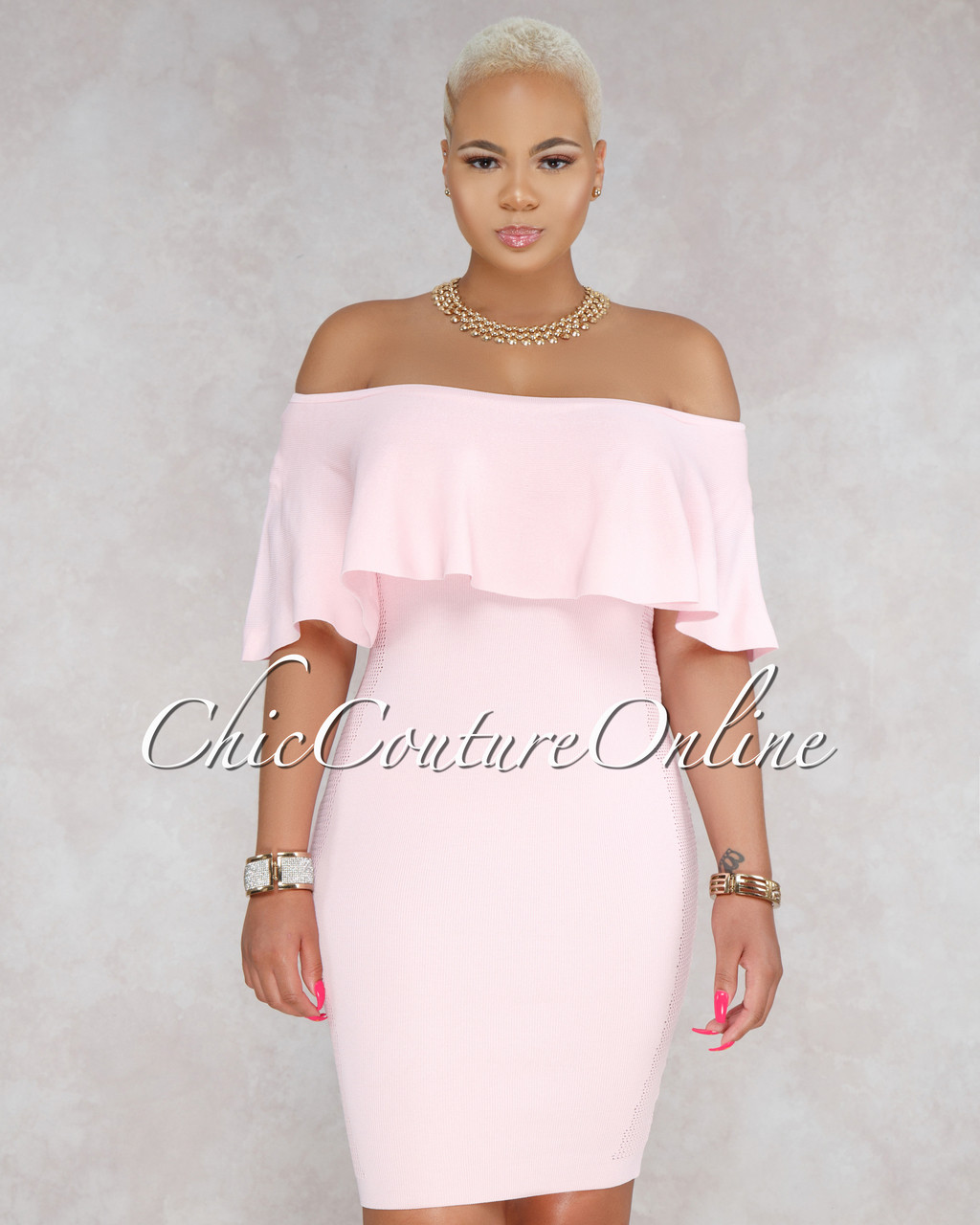 b86b75afba6f Sonnie Light Pink Ruffle Off The Shoulder Dress. Price   45.00. Image 1.  Larger   More Photos