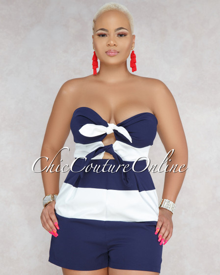 Seth White Navy Strapless Nautical Romper