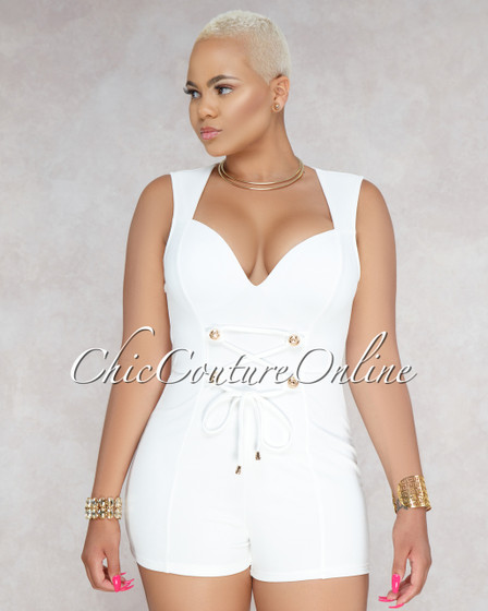 Larra Off-White Front Gold Buttons Romper