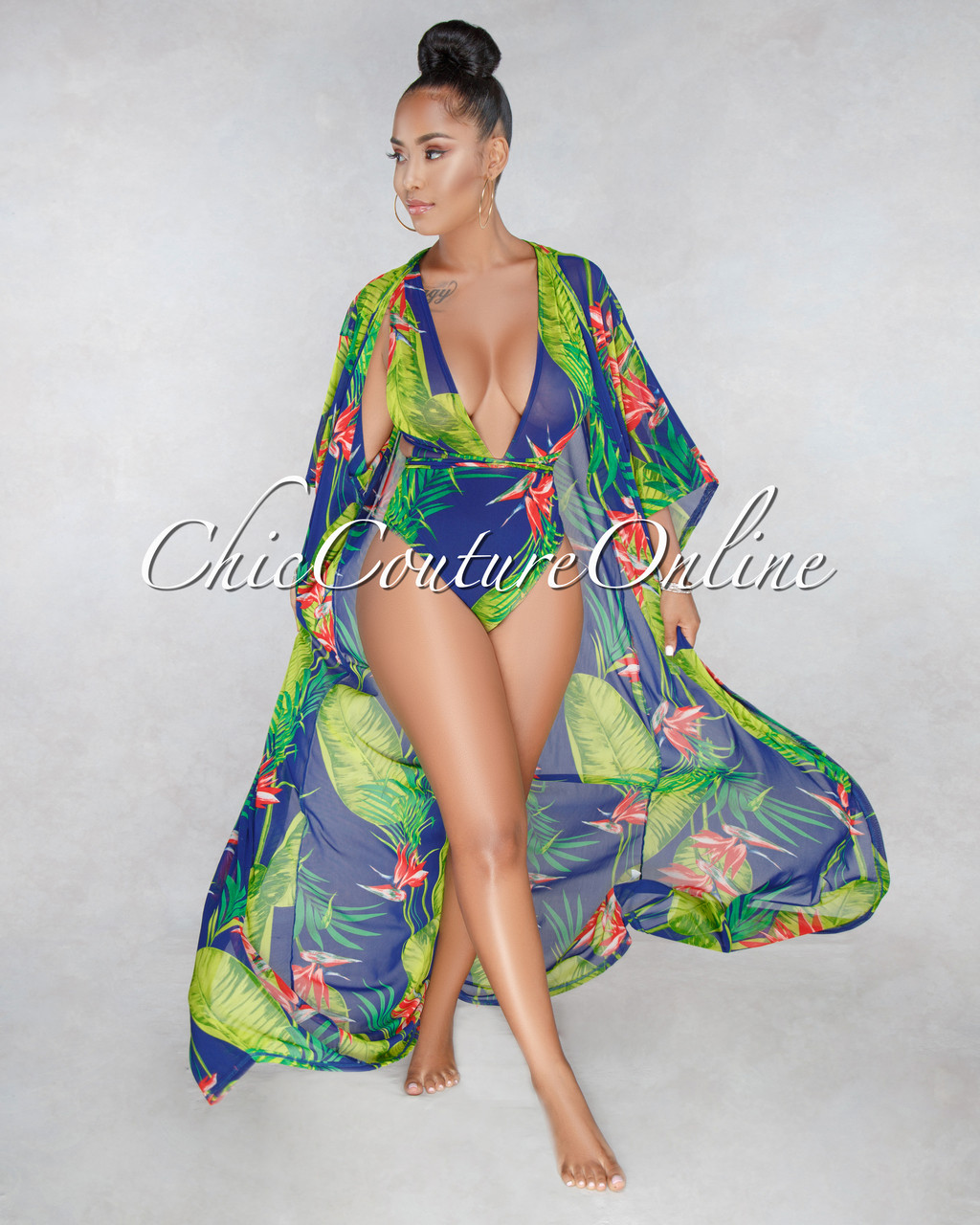 8ffed34a574 Aruba Blue Leaf Red Floral Print Mesh Swimsuit Cover-up/Set