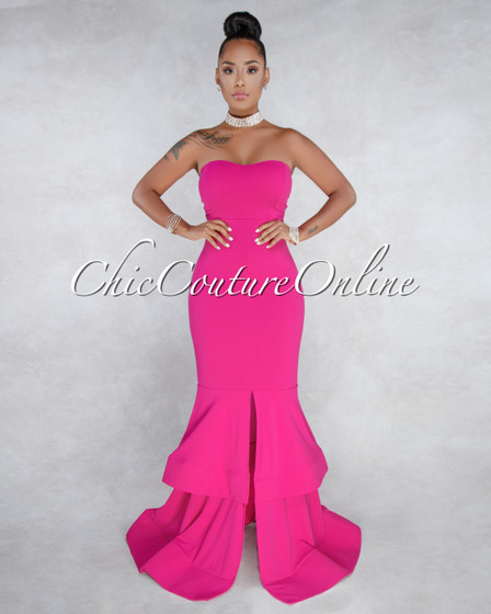 Marta Pink Strapless Tier Padded Maxi Dress