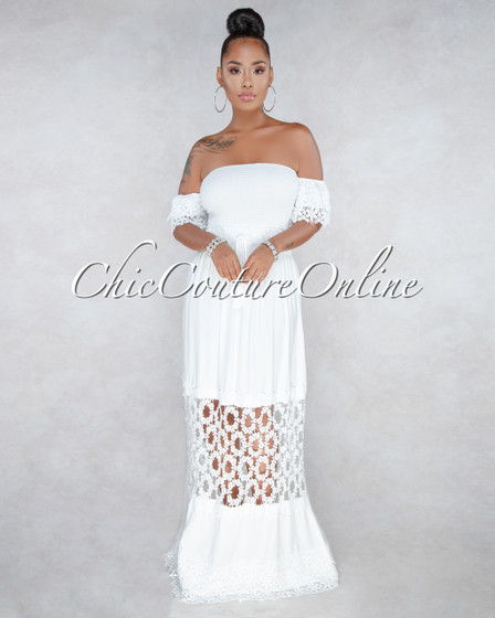 Maxwell Off-White Crochet Smocked Maxi Dress