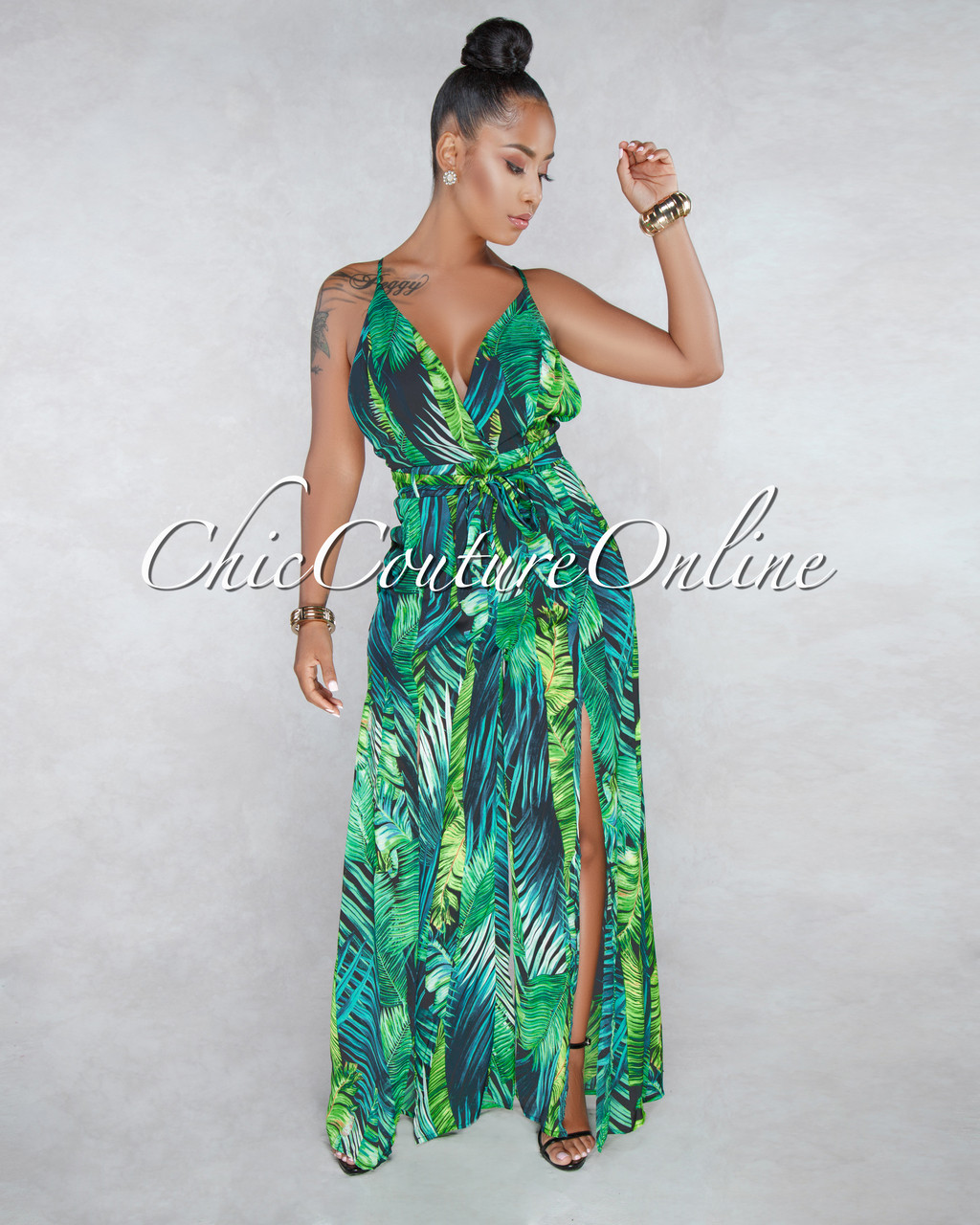 c13e9482f4e Wren Green Leaf Print Jumpsuit. Price   55.00. Image 1. Larger   More Photos