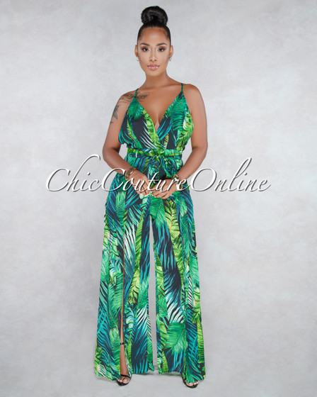 Wren Green Leaf Print Jumpsuit