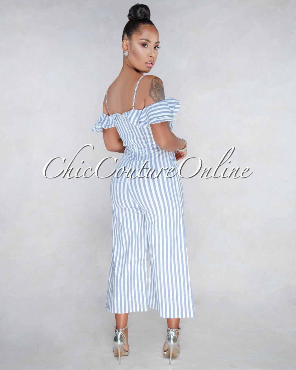 debd76dff70 Rhett Blue White Stripes Print Jumpsuit. Price   50.00. Image 1. Larger    More Photos