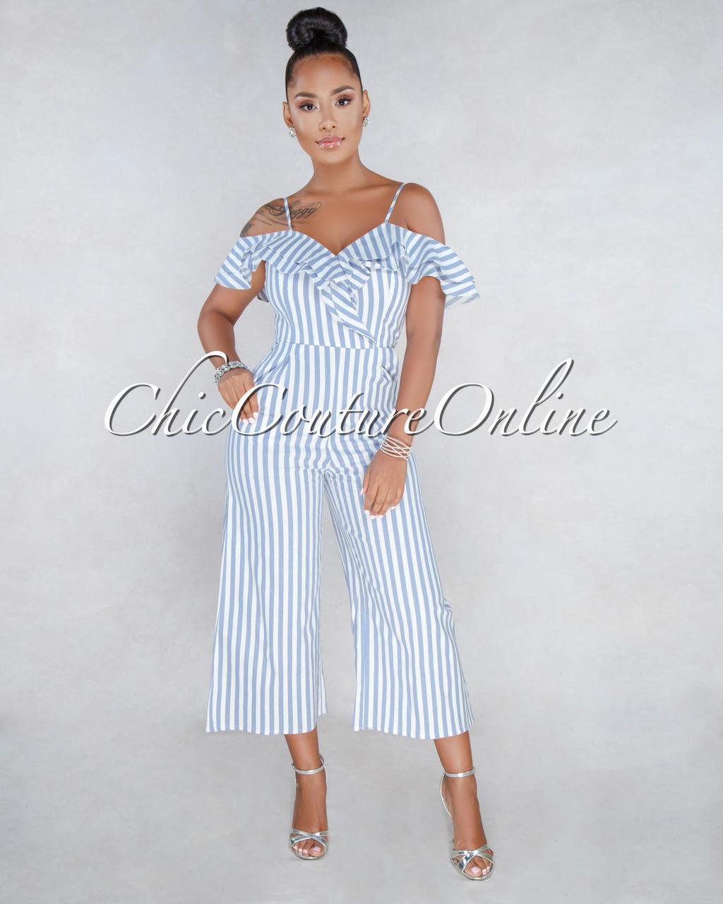 93ab6e3e65a Rhett Blue White Stripes Print Jumpsuit. Price   50.00. Image 1