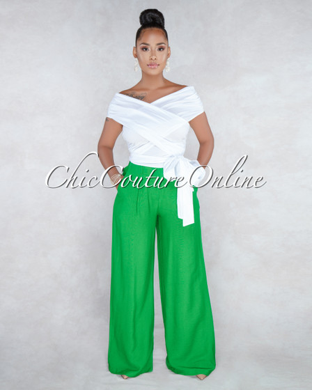 Finn Green Paper Bag Waist Pants
