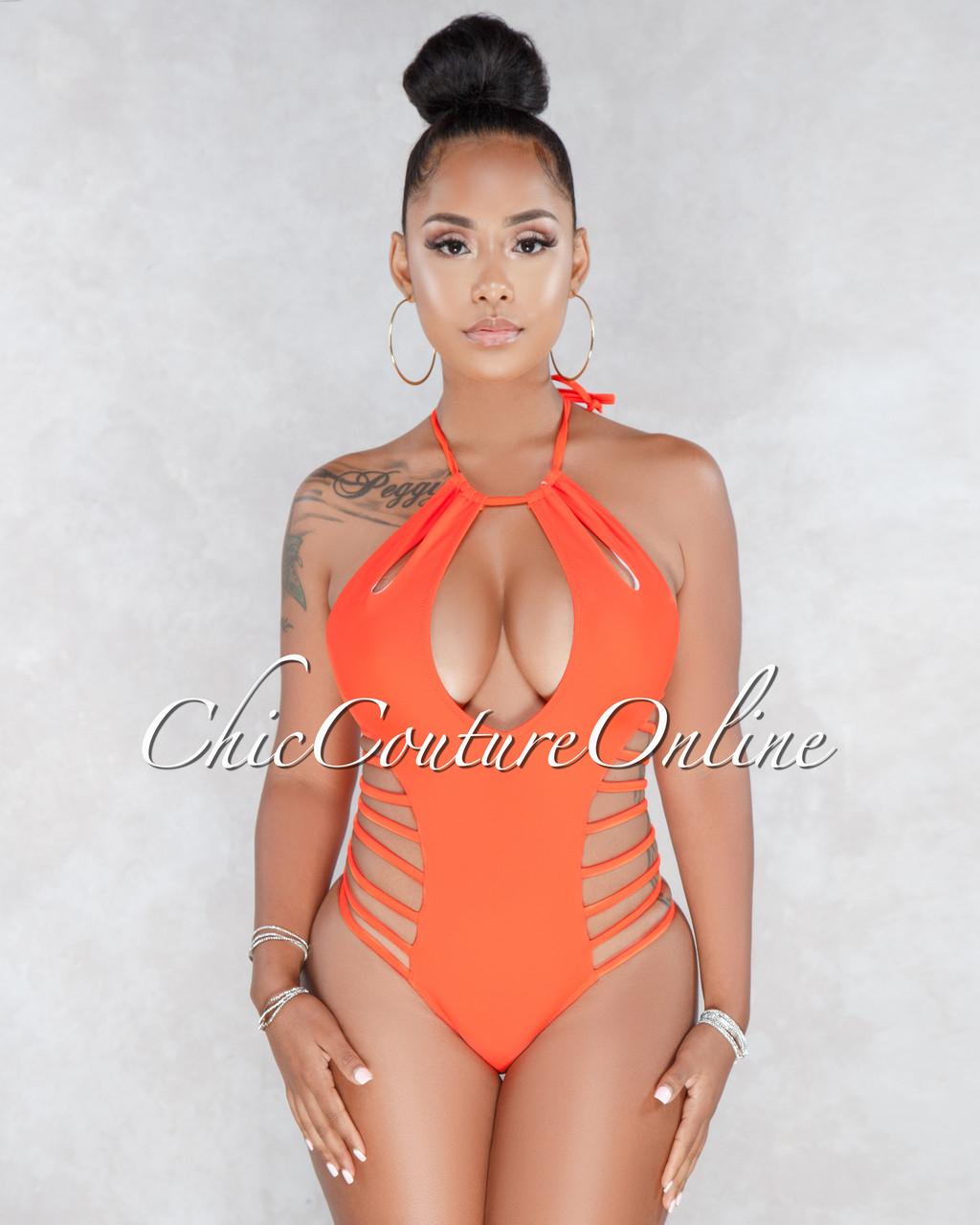 f0d1da2916 Cressida Orange Halter Cut Out Strappy One Piece Swimsuit. Price: $50.00.  Image 1