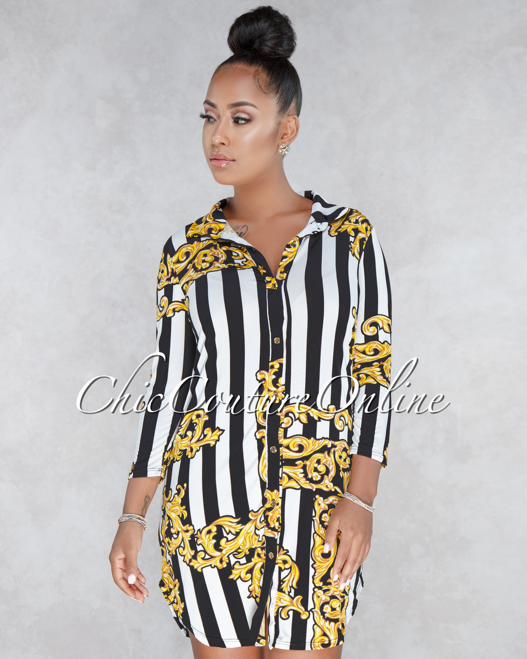 Kenzie Black White Gold Print Shirt Dress c113468d02