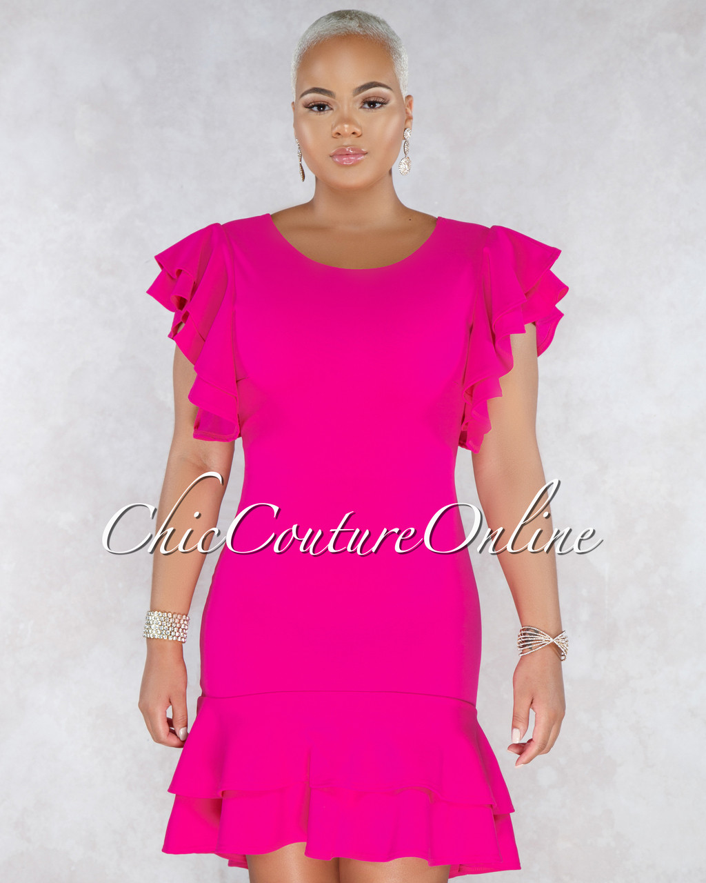 a58d34b2692 Sullie Fuchsia Ruffle High Low Dress. Price   50.00. Image 1