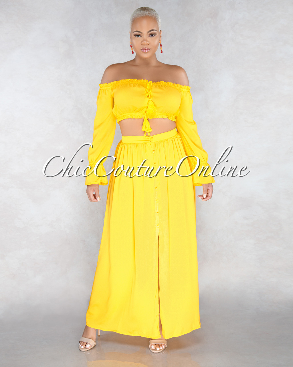 26ae149e6f7e Nalda Yellow Rushed Top & Skirt Two Piece Set
