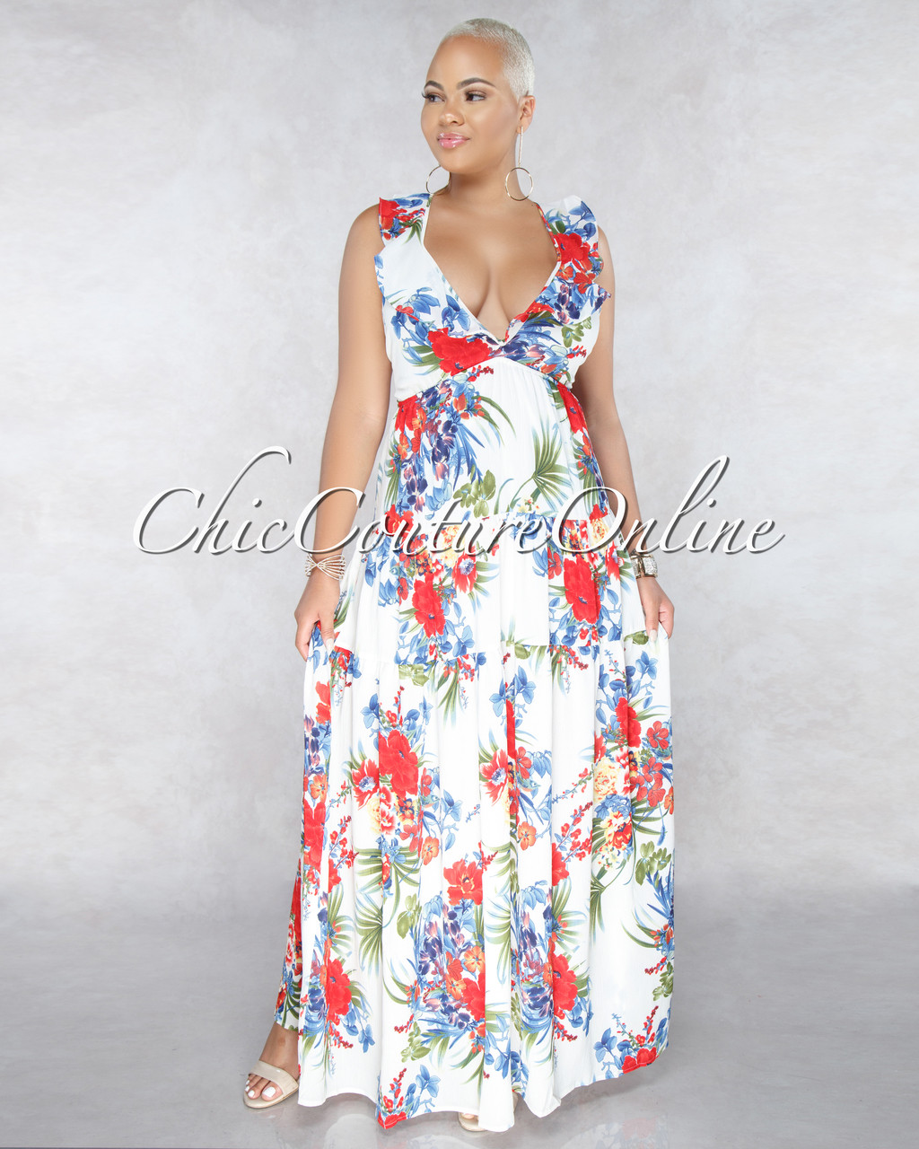 d61b905a898f Alythea Off White Multi Color Floral Print Halter Maxi Dress. Your Price:  $45.00 (You save $15.00). Image 1